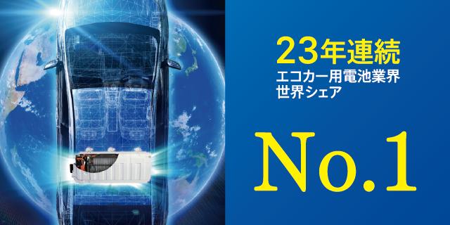23年連続エコカー用電池業界 世界シェアNo.1